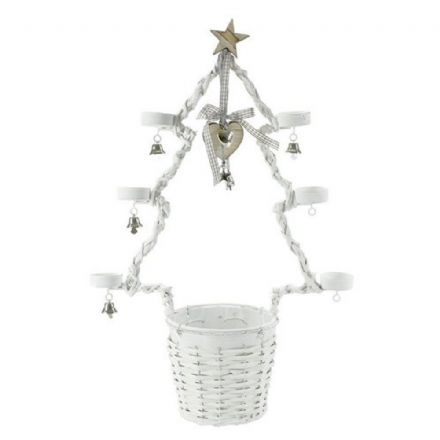 Christmas Tree Planter Tea light Holder ~ White ~ Hanging Heart & Bells